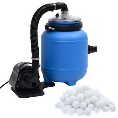 vidaXL Poolfilterpump svart och blå 4 m³/tim