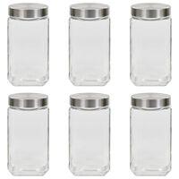 vidaXL Förvaringsburkar i glas med silvriga lock 6 st 2100 ml