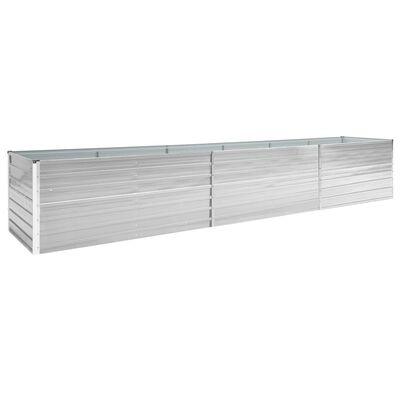 vidaXL Odlingslåda upphöjd galvaniserat stål 480x80x77 cm grå