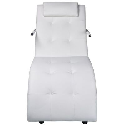 vidaXL Schäslong med kudde vit konstläder