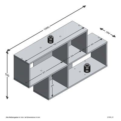 FMD Väggmonterad hylla med 4 fack matera ek