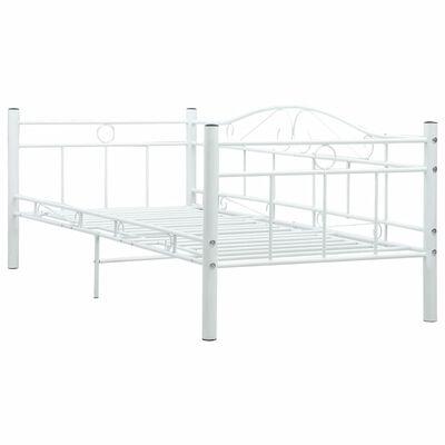 vidaXL Ram till dagbädd vit metall 90x200 cm