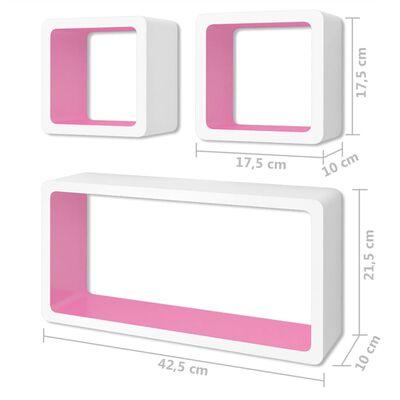vidaXL Vägghyllor kub 6 st vit och rosa