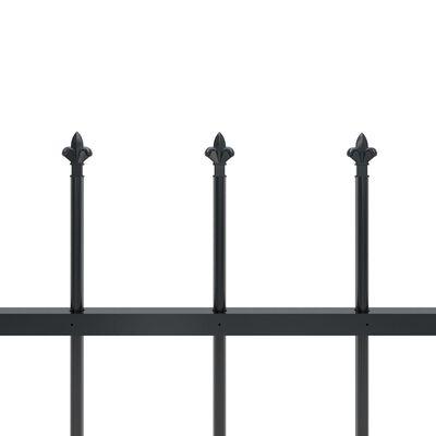 vidaXL Trädgårdsstaket med spjuttopp stål 17x1,2 m svart