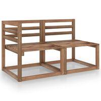 vidaXL Loungegrupp för trädgården 2 delar brun impregnerad furu