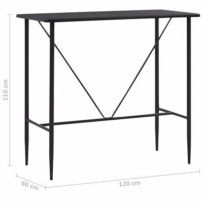 vidaXL Barbord svart 120x60x110 cm MDF