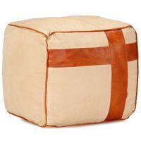 vidaXL Sittpuff beige 40x40x40 cm bomullskanvas och läder