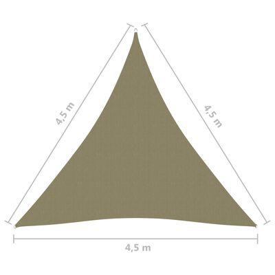 vidaXL Solsegel Oxfordtyg trekantigt 4,5x4,5x4,5 m beige