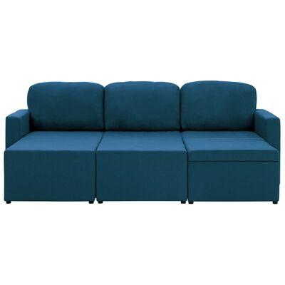 vidaXL Bäddsoffa modulär 3-sits blå tyg