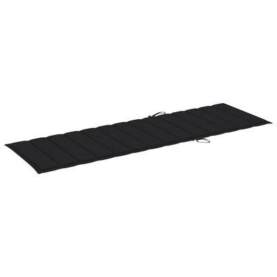 vidaXL Solsängsdyna svart 200x60x4 cm tyg, Black