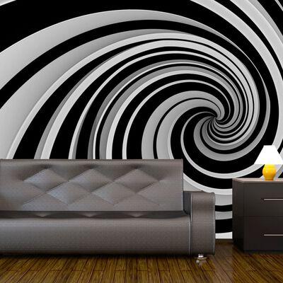 Fototapet - Black And White Swirl - 250x193 Cm