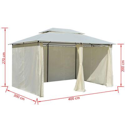 vidaXL Paviljong med draperier 4x3 m vit
