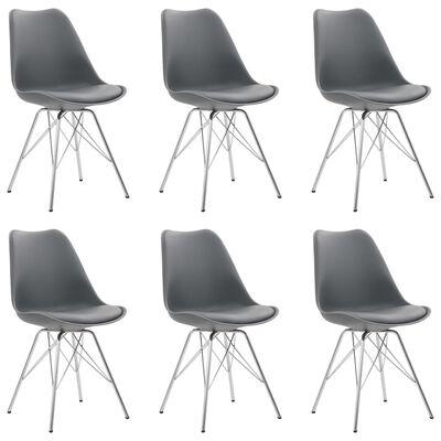 vidaXL Matstolar 6 st grå konstläder