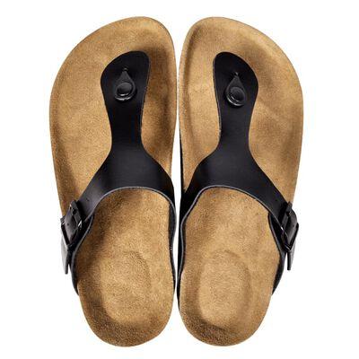 vidaXL Damtofflor kork med sandalspänne svart strl 36