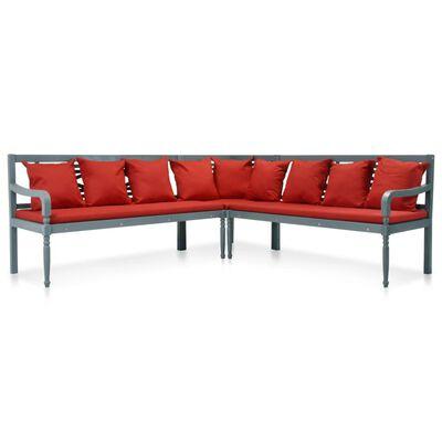 vidaXL Loungegrupp för trädgården 3 delar akaciaträ grå och röd