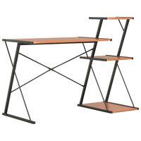 vidaXL Skrivbord med hylla svart och brun 116x50x93 cm