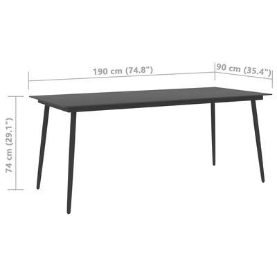 vidaXL Trädgårdsbord svart 190x90x74 cm stål och glas