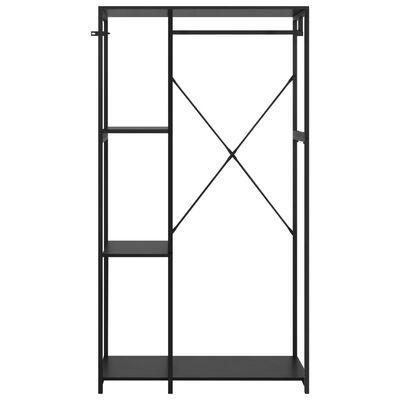 vidaXL Garderob svart 90x40x167 cm metall och spånskiva