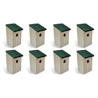 vidaXL Fågelholkar 8 st trä 12x12x22 cm
