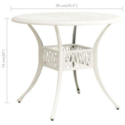 vidaXL Trädgårdsbord vit 90x90x74 cm gjuten aluminium