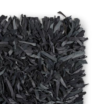 vidaXL Shaggy-matta äkta läder 80x160 cm grå