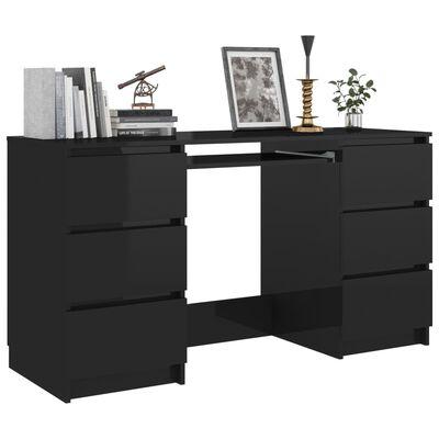 vidaXL Skrivbord svart högglans 140x50x77 cm spånskiva
