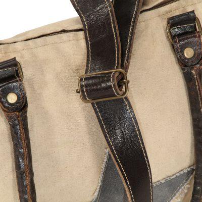vidaXL Shoppingväska beige 41x63 cm kanvas och äkta läder