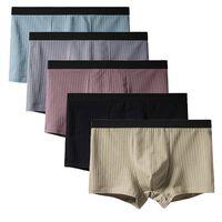5-pack kalsonger i bomull med ribbat mönster - olika färger