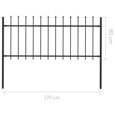 vidaXL Trädgårdsstaket med spjuttopp stål 17x0,8 m svart