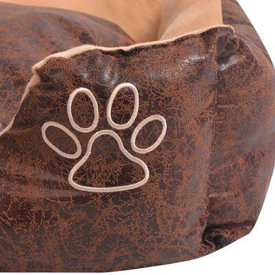 vidaXL Hundbädd med kudde PU konstläder storlek XXL brun