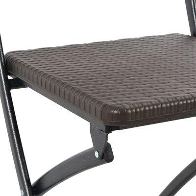 vidaXL Hopfällbara trädgårdsstolar 4 st konstrotting HDPE & stål brun