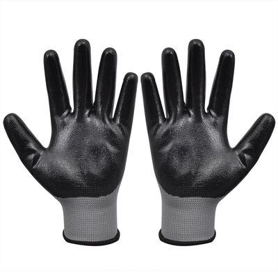 vidaXL Arbetshandskar nitril 24 par grå och svart strl. 9/L