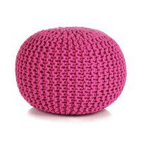 vidaXL Handstickad puff bomull 50x35 cm rosa