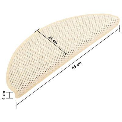 vidaXL Trappstegsmattor självhäftande sisal 15 st 65x25 cm gräddvit