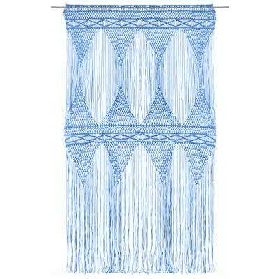 vidaXL Gardin makramé blå 140x240 cm bomull