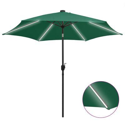 vidaXL Parasoll med LED-lampor och aluminiumstång 300 cm grön