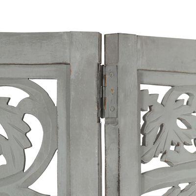 vidaXL Rumsavdelare 3 paneler handsnidad grå 120x165 cm mangoträ