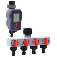 vidaXL Digital bevattningstimer med ett uttag och vattenfördelare