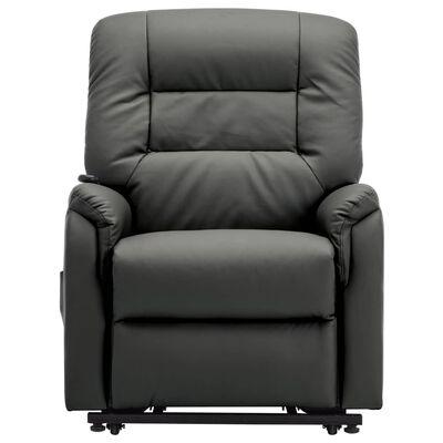 vidaXL Elektrisk reclinerfåtölj med uppresningshjälp grå konstläder