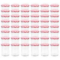 vidaXL Syltburkar i glas med vita och röda lock 48 st 400 ml