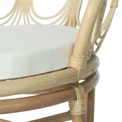 vidaXL Matstol med dyna naturlig rotting och linne