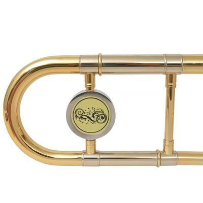 vidaXL Trombon mässing med guldlack Bb