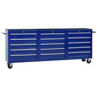 vidaXL Verktygsvagn med 15 lådor stål blå