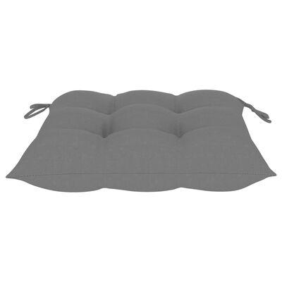 vidaXL Matstolar 6 st med gråa dynor massiv teak