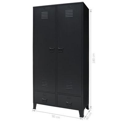 vidaXL Garderob industriell stil metall 90x40x180 cm svart