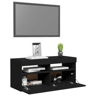 vidaXL TV-bänk med LED-belysning svart 90x35x40 cm