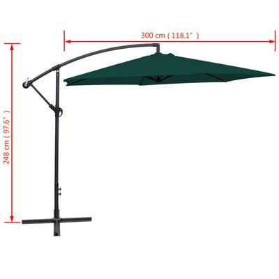 vidaXL Frihängande parasoll 3 m grön