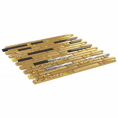 vidaXL Självhäftande mosaikplattor 22 st svart och guld 30x30 cm glas