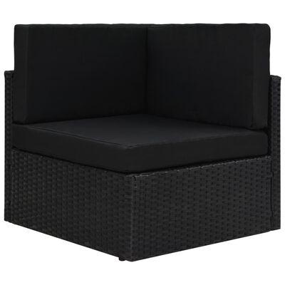 vidaXL Loungegrupp för trädgården 10 delar konstrotting svart