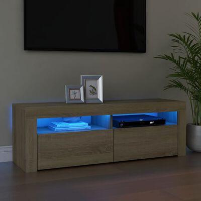 vidaXL TV-bänk med LED-belysning sonoma-ek 120x35x40 cm